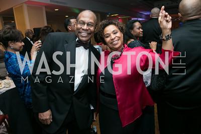 Dwight Ellis, Rep. Barbara Lee. Photo by Alfredo Flores. Congressional Black Caucus Foundation Inaugural Gala & Celebration. Capital Hilton Hotel. January 21, 2013.
