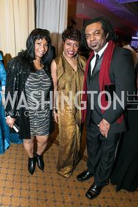 Faith Burnal, Rep. Yvette Clarke, Leslie Clarke Jr. Photo by Alfredo Flores. Congressional Black Caucus Foundation Inaugural Gala & Celebration. Capital Hilton Hotel. January 21, 2013.