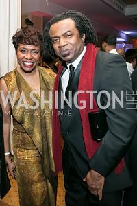 Rep. Yvette Clarke, Leslie Clarke Jr. Photo by Alfredo Flores. Congressional Black Caucus Foundation Inaugural Gala & Celebration. Capital Hilton Hotel. January 21, 2013.