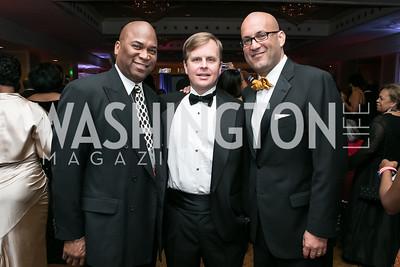 James Gillan, Thomas Koonce, Peter Villegas. Photo by Alfredo Flores. Congressional Black Caucus Foundation Inaugural Gala & Celebration. Capital Hilton Hotel. January 21, 2013.