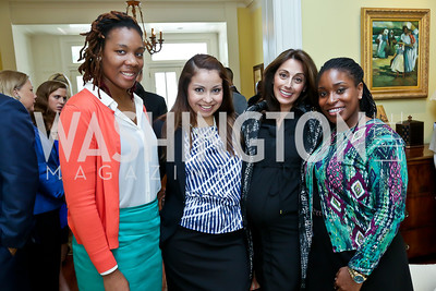 Shaquita Ogletree, Athena Madison, Lindsay Ellenbogen, Lysha Lewis. Photo by Tony Powell. CCAI Foster Youth Internship Luncheon. Residence of Senator Mary Landrieu. June 12, 2013