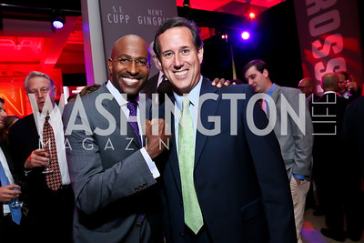 Van Jones, Rick Santorum. Photo by Tony Powell. Crossfire Returns. Carnegie Library. September 10, 2013