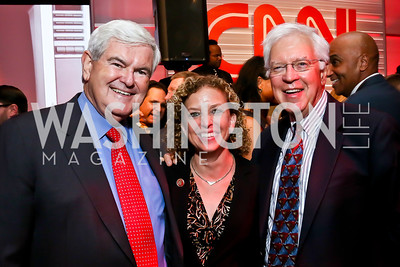 Newt Gingrich, Rep. Debbie Wasserman Schultz, Bill Press. Photo by Tony Powell. Crossfire Returns. Carnegie Library. September 10, 2013