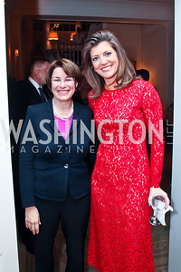 Sen. Amy Klobuchar, Norah O'Donnell. Photo by Tony Powell. Bradley Inauguration Dinner. January 20, 2013
