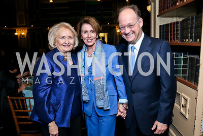 Melanne Verveer, Leader Nancy Pelosi, Georgetown Univ. President Jack DeGioia. Photo by Tony Powell. Dinner Celebrating Women Ambassadors to the US. Riggs Library, Georgetown Univ. October 14, 2013