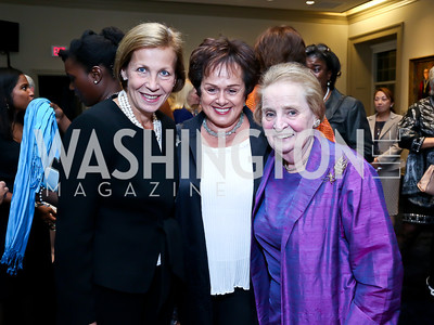 Finland Amb. Ritva Koukku-Ronde, Liechtenstein Amb. Claudia Fritsche, Madeleine Albright. Photo by Tony Powell. Dinner Celebrating Women Ambassadors to the US. Riggs Library, Georgetown Univ. October 14, 2013