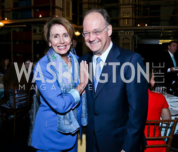 Leader Nancy Pelosi, Georgetown Univ. President Jack DeGioia. Photo by Tony Powell. Dinner Celebrating Women Ambassadors to the US. Riggs Library, Georgetown Univ. October 14, 2013