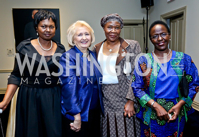 Rwanda Amb. Mathilde Mukantabana, Melanne Verveer, Botswana Amb. Tebelelo Seretse, Tanzania Amb. Liberata Mulamula. Photo by Tony Powell. Dinner Celebrating Women Ambassadors to the US. Riggs Library, Georgetown Univ. October 14, 2013