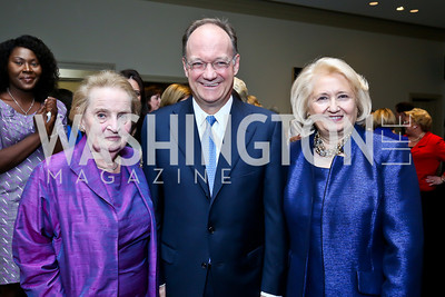 Madeleine Albright, Jack DeGioia, Melanne Verveer. Photo by Tony Powell. Dinner Celebrating Women Ambassadors to the US. Riggs Library, Georgetown Univ. October 14, 2013