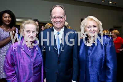 Madeleine Albright, Jack DeGioia, Melanne Verveer. Photo by Tony Powell. Dinner Celebrating Women Ambassadors to the US. Riggs Library, Georgetown Univ. October 14, 2013