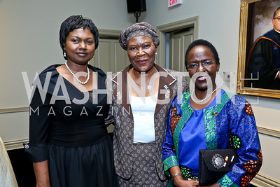 Rwanda Amb. Mathilde Mukantabana, Botswana Amb. Tebelelo Seretse, Tanzania Amb. Liberata Mulamula. Photo by Tony Powell. Dinner Celebrating Women Ambassadors to the US. Riggs Library, Georgetown Univ. October 14, 2013