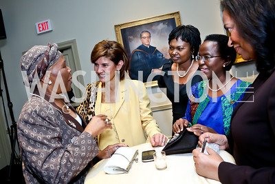 Botswana Amb. Tebelelo Seretse, Capricia Marshall, Rwanda Amb. Mathilde Mukantabana, Tanzania Amb. Liberata Mulamula, Cape Verde Amb. Maria Veiga. Photo by Tony Powell. Dinner Celebrating Women Ambs. to the US. Riggs Library, GU. October 14, 2013