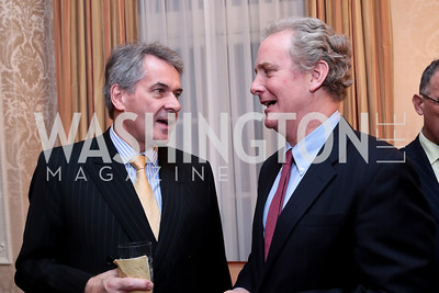 British Amb. Sir Peter Westmacott, Rep. Chris Van Hollen. Photo by Tony Powell. Dinner for Christine Lagarde at the residence of the Lebanese Ambassador. December 19, 2013