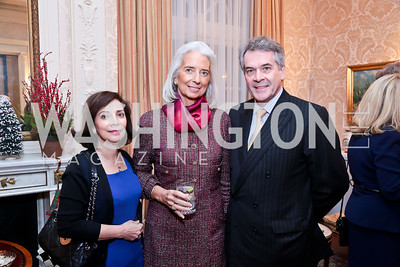 Lady Westmacott, Christine Lagarde, British Amb. Sir Peter Westmacott. Photo by Tony Powell. Dinner for Christine Lagarde at the residence of the Lebanese Ambassador. December 19, 2013