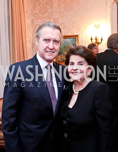 William Cohen, Doris Reggie. Photo by Tony Powell. Dinner for Christine Lagarde at the residence of the Lebanese Ambassador. December 19, 2013