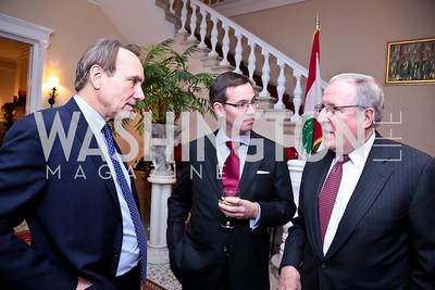 Chris Isham, Robert Allbritton, Ed Mathias. Photo by Tony Powell. Dinner for Christine Lagarde at the residence of the Lebanese Ambassador. December 19, 2013