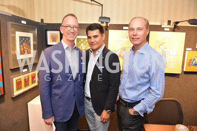 Joe Rodota, Xavier Equihua, John Paty, (e)merge Art Fair opening party at the Capitol Skyline Hotel.  Thursday, October 10, 2013.  Photo by Ben Droz.