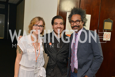 Eames Armstrong, Victor Aguilar, Raul Zahir De Leon, (e)merge Art Fair opening party at the Capitol Skyline Hotel.  Thursday, October 10, 2013.  Photo by Ben Droz.