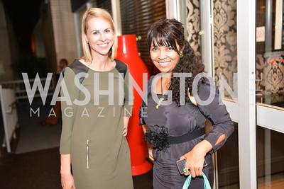 Katie Funk, Ivana Zambrana, (e)merge Art Fair opening party at the Capitol Skyline Hotel.  Thursday, October 10, 2013.  Photo by Ben Droz.
