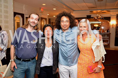 Marty Shepp, Trish Ton, Dan Cooper, Kate Damon, (e)merge Art Fair opening party at the Capitol Skyline Hotel.  Thursday, October 10, 2013.  Photo by Ben Droz.