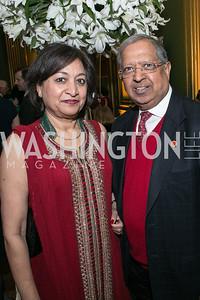 Adarsh Gupta, Suresh Gupta. Photo by Alfredo Flores. Etihad Airways Dinner. Mellow Auditorium. April 2, 2013.