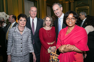 Diane Jones, James Jones, Neil King Jr., Elise Labott, Helene Cooper. Photo by Alfredo Flores. Etihad Airways Dinner. Mellow Auditorium. April 2, 2013.