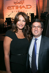 Patricia Lopez, Luis Alberto Moreno. Photo by Alfredo Flores. Etihad Airways Dinner. Mellow Auditorium. April 2, 2013.