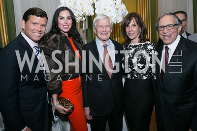 Bret Baier, Amy Baier, Fred Malek, Beth Dozoretz, Ron Dozoretz. Photo by Alfredo Flores. Etihad Airways Dinner. Mellow Auditorium. April 2, 2013.