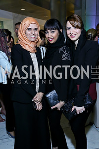 Saghira Alahbabi, Fatima Almazmi, Dana Almarashi. Photo by Tony Powell. Etihad Airways VIP reception. Embassy of the UAE. September 6, 2013