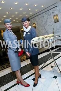 Jekaterina Dremova, Andrea Genova. Photo by Tony Powell. Etihad Airways VIP reception. Embassy of the UAE. September 6, 2013
