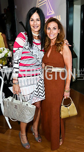 Deborah Kalkstein, Lynda Erkiletian. Photo by Tony Powell. Events by Andre Wells 10th Anniversary. Malmaison. June 5, 2013