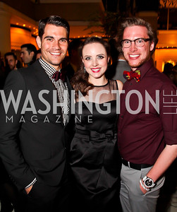 "Chris Ciccarelli, Morgan Cowling, Derek Parker. Photo by Tony Powell. Ford's Theatre ""Hello Dolly"" Opening Reception. Old Ebbitt Grill. March 20, 2013"