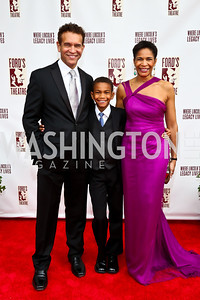 Brian Stokes Mitchell, Ellington Mitchell and Allyson Tucker. Photo by Tony Powell. 2013 Ford's Theater Annual Gala. June 2, 2013