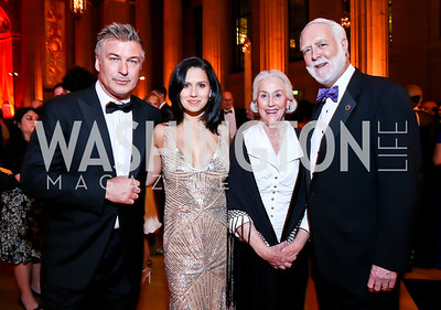 Alec and Hilaria Baldwin, Ann Clough and Smithsonian Sec. Wayne Clough. Photo by Tony Powell. Some Enlightened Evening. Andrew Mellon Auditorium. October 17, 2013