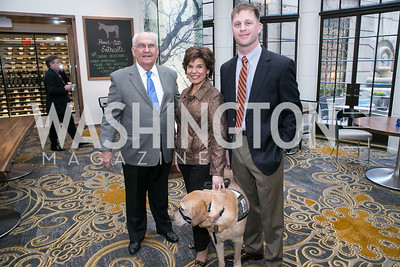 "John Underwood, Leslie Smith, Graham Davidson, with dog Issac. Gary Sinise Foundation and The Caucus Room Brasserie ""Inspiration to Action,"" fundraising dinner. Photo by Alfredo Flores. Westin Georgetown. March 20, 2013"