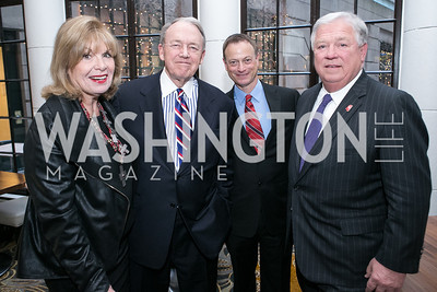"Pat Harrison, Jim May, Gary Sinise, Haley Barbour. Gary Sinise Foundation and The Caucus Room Brasserie ""Inspiration to Action,"" fundraising dinner. Photo by Alfredo Flores. Westin Georgetown. March 20, 2013"