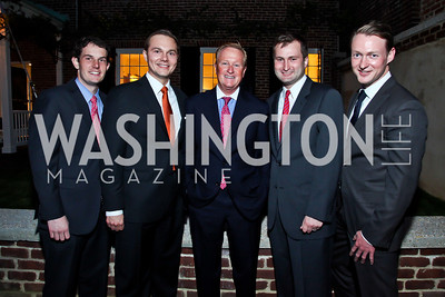Adam Stoffel, Robert Hryniewicki, Bill Moody, Adam Racliff, Christopher Leary. Photo by Tony Powell. Georgetown House Tour Patrons Party. Anderson/Schappell residence. April 24, 2013