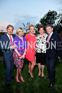 Mark McFadden, Tina Alster, Fabiola Martens, Terri Robinson, Paul Frazer. Photo by Tony Powell. Georgetown House Tour Patrons Party. Anderson/Schappell residence. April 24, 2013