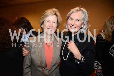 Kathy Baczko, member of the Institute's advisory board, with Gail Griffith of the School of Foreign Service, Georgetown University.  Launch for Georgetown Institute on Women, Peace and Security.  Photo by Ben Droz. Hosted by Carol Lancaster, dean of the Edmund A. Walsh School of Foreign Service, Jeanne Reusch, Chair of the Board of the Georgetown Institute on Women, Peace and Security and Melanne Verveer, executive Director Geogetown Institute on Women, Peace and Security; Honoree: Dr. Claudia Paz y Paz, Attorney General of Guatemala