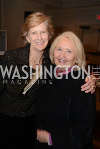 Ambassador Nancy McEldowney, director of the Foreign Service Institute, with Ambassador Melanne Verveer.  Launch for Georgetown Institute on Women, Peace and Security.  Photo by Ben Droz. Hosted by Carol Lancaster, dean of the Edmund A. Walsh School of Foreign Service, Jeanne Reusch, Chair of the Board of the Georgetown Institute on Women, Peace and Security and Melanne Verveer, executive Director Geogetown Institute on Women, Peace and Security; Honoree: Dr. Claudia Paz y Paz, Attorney General of Guatemala