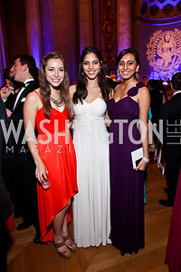 Kelsey Begin, Jenika Newsum, Sonya Patel. Photo by Tony Powell. Georgetown University Diplomatic Ball. Mellon Auditorium. April 12, 2013