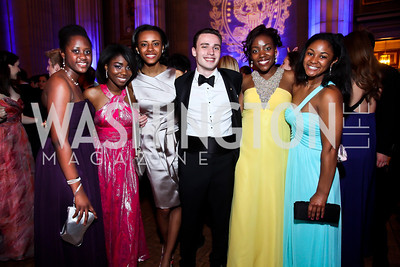Celia Sawyerr, Olivia Holmes, Olivia Hewitt, Zach Busch, Joy Robertson, Allison Blankenship. Photo by Tony Powell. Georgetown University Diplomatic Ball. Mellon Auditorium. April 12, 2013
