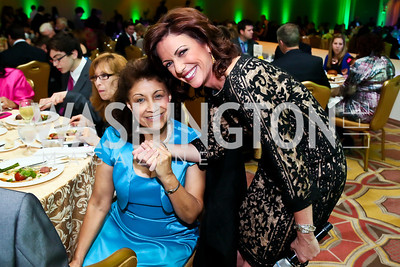 Alicia Arbelaez, Emcee Kyra Phillips. Photo by Tony Powell. Global Down Syndrome Foundation Gala. Ritz Carlton. May 8, 2013