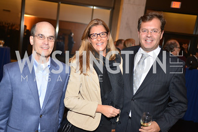 Jim Wolbarsht, Nuno Motta Pinto, Ianara Pinto, Harvard Business School hosts a reception at the French Embassy.  October 23, 2013.  Photo by Ben Droz.