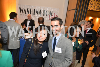 Jingjing Zhang, Georgios Theocharis, Harvard Business School hosts a reception at the French Embassy.  October 23, 2013.  Photo by Ben Droz.