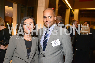 Catherine Albertini, Dante Disparte, Harvard Business School hosts a reception at the French Embassy.  October 23, 2013.  Photo by Ben Droz.