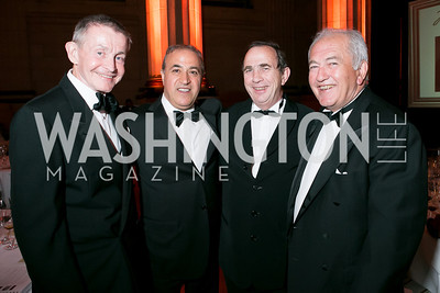 William Plante, Bijan Jabbari, Bernard Burtschy, Alfred Tesseron. Photo by Alfredo Flores. Heart's Delight Vintner's Dinner. Andrew W. Mellon Auditorium. May 3, 2013