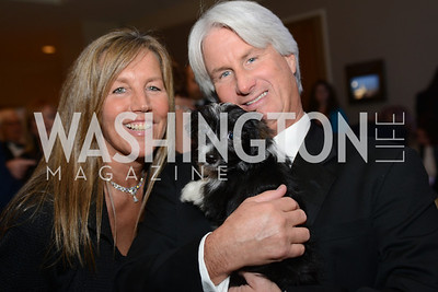 Suzanne Davis, Timothy Davis, cute puppy for auction,  Heroes Curing Childhood Cancer Gala, at the Four Seasons.  Saturday, February 23, 2013. Photo by Ben Droz.