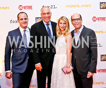 Showtime Pres. of Entertainment David Nevins, Fox 20th TV Co-Chairman Gary Newman, Claire Danes, Showtime CEO Matthew Blank. Photo by Tony Powell. Homeland Season 3 Screening. Corcoran Gallery. September 9, 2013