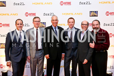 David Nevins, Alex Gansa, Gary Newman, Damian Lewis, Matthew Blank, Mandy Patinkin. Photo by Tony Powell. Homeland Season 3 Screening. Corcoran Gallery. September 9, 2013